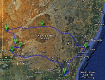 5 day driving route encompassing Mt Kosciuszko, Mildura, Mungo NP, Pooncarie, Broken Hill, Cobar and Sydney
