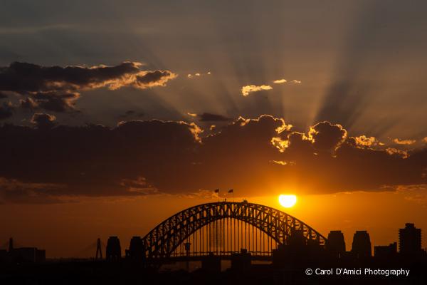dusk approaching over Sydney Harbour Bridge